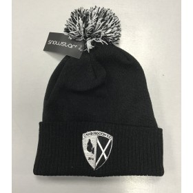 Cambusdoon FC Black and White Pom Pom Hat with Badge