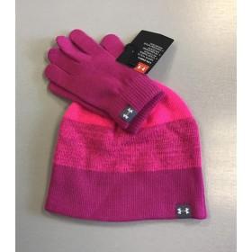 Under Armour Kids Coldgear Pink Hat and Gloves Set