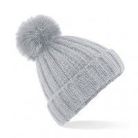 Beechfield Ladies Grey Pom Pom Hat