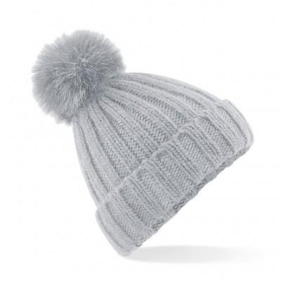 Beechfield Ladies Grey Pom Pom Hat