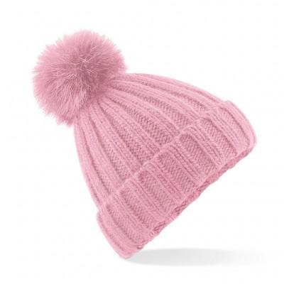 Beechfield Ladies Pink Pom Pom Hat