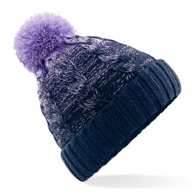 Beechfield Ladies Purple Pom Pom Hat